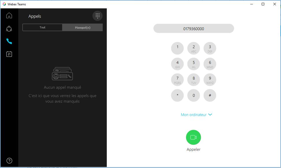 webex calling interface